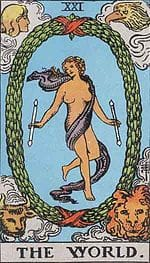 The World Tarot cards for love